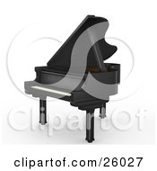 Clipart Illustration Of A Flat Black Grand Piano With The Top Open Facing To The Left Over White