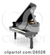 Clipart Illustration Of A Glossy Black Grand Piano With The Top Open Facing To The Left Over White