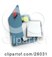 Clipart Illustration Of Two Blank Sheets Of Paper And A Yellow Sticky Note Inside A Blue Folder With A Red Note On Top Over White