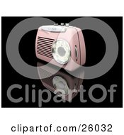 Clipart Illustration Of A Retro Pink Radio With A Station Dial On A Reflective Black Surface by KJ Pargeter