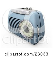 Clipart Illustration Of A Retro Blue Radio With A Station Dial On A White Surface by KJ Pargeter