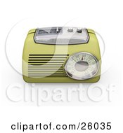 Clipart Illustration Of A Vintage Greenish Yellow Radio With A Station Tuner On A White Background by KJ Pargeter
