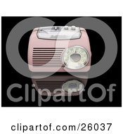 Clipart Illustration Of A Vintage Pink Radio With A Station Tuner On A Reflective Black Surface by KJ Pargeter