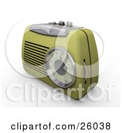 Clipart Illustration Of A Retro Greenish Yellow Radio With A Station Dial On A White Surface