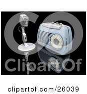 Clipart Illustration Of A Retro Microphone And Blue Radio On A Reflective Black Surface