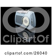 Clipart Illustration Of A Retro Blue Radio With A Station Dial On A Reflective Black Surface by KJ Pargeter