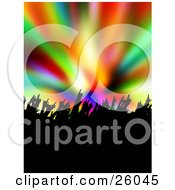 Silhouetted People Waving Their Hands At A Concert Over A Colorful Background