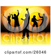 Men And Women Silhouetted And Dancing Against A Volumizer Background On A Reflective Surface