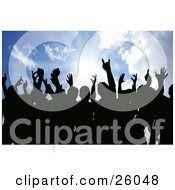 Clipart Illustration Of Silhouetted People Holding Their Hands In The Air Against A Sunburst In A Blue Sky by KJ Pargeter #COLLC26048-0055