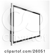 Wall Mounted Big Screen Plasma Tv With A Blank White Screen