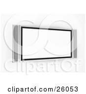 Clipart Illustration Of A Wall Hung Plasma Television With A Blank White Screen by KJ Pargeter