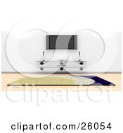 Clipart Illustration Of A Wall Mounted Plasma Tv Over A Glass Table In A Living Room With A Rug And Wood Flooring