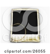Clipart Illustration Of A Blank Polaroid Picture With Water Stains Over White by KJ Pargeter