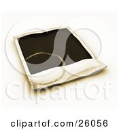 Clipart Illustration Of A Stained Blank Polaroid Picture Over White