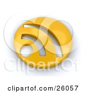 Clipart Illustration Of A Golden Circle RSS Symbol On A White Background by KJ Pargeter