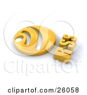 Clipart Illustration Of A Circular Golden Rss Button On A White Background by KJ Pargeter
