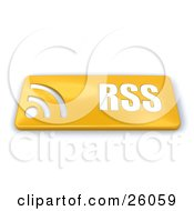 Golden Rss Button With Symbols On A White Background