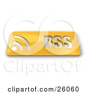 Gold Rss Button With Wave Symbols On A White Background