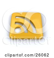 Clipart Illustration Of A Golden Square RSS Button On A White Background by KJ Pargeter