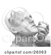 Clipart Illustration Of A Shiny Mans Head With Cogs And Gears In His Brain Touching His Face While Thinking