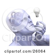 Clipart Illustration Of A Shiny Mans Head With Cogs And Gears In His Brain Touching His Face And Looking At A Light Bulb While Thinking by KJ Pargeter