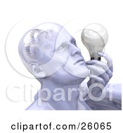 Clipart Illustration Of A Shiny Mans Head With Cogs And Gears In His Brain Holding A Lightbulb by KJ Pargeter