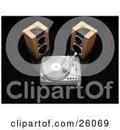 Clipart Illustration Of Two Wood Stereo Speakers Beside A Turntable Playing A Record On A Black Reflective Surface