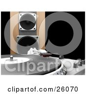 Clipart Illustration Of The Needle Of A Record Player Lowering To The Vinly A Wooden Speaker In The Background Over Black by KJ Pargeter