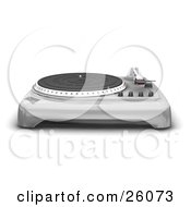 Clipart Illustration Of A Chrome Turntable With The Needle Resting To The Side Over A White Background by KJ Pargeter