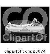 Clipart Illustration Of A Chrome Turntable With The Needle Resting To The Side On A Black Reflective Surface by KJ Pargeter