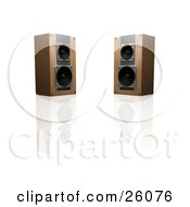 Clipart Illustration Of Two Wooden Stereo Speakers Facing Slightly Towards Each Other On A Reflective White Surface