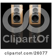 Clipart Illustration Of A Pair Of Wooden Radio Speakers Side By Side Facing Front On A Reflective Black Surface