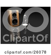 Clipart Illustration Of A Chrome Retro Microphone Beside A Speaker On A Reflective Surface
