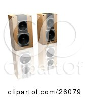 Clipart Illustration Of A Pair Of Wooden Stereo Speakers Side By Side On A Reflective White Surface