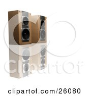 Clipart Illustration Of A Pair Of Wood Speakers Side By Side Facing Right On A Reflective White Surface