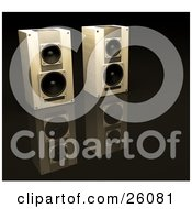 Clipart Illustration Of Two Stero System Speakers Side By Side On A Reflective Black Surface Facing Slightly Right