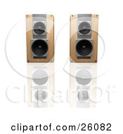 Clipart Illustration Of A Pair Of Wooden Radio Speakers Side By Side Facing Front On A Reflective White Surface
