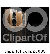 Clipart Illustration Of A Pair Of Wood Speakers Side By Side Facing Right On A Reflective Black Surface by KJ Pargeter