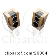 Clipart Illustration Of Two Wood Radio Speakers Facing Slightly Towards Each Other On A Reflective White Surface