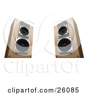 Clipart Illustration Of Wooden Stereo System Speakers Facing Slightly Inwards Towards Each Other On A White Background by KJ Pargeter