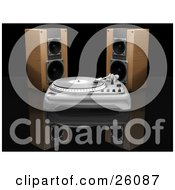 Clipart Illustration Of Two Wooden Speakers Behind A Record Player On A Reflective Black Surface
