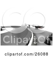 Clipart Illustration Of A Closeup Of The Spinning Table Of A Record Player With Black Nobs And The Needle Over White by KJ Pargeter