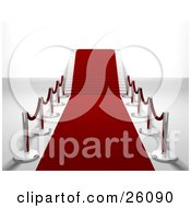 Clipart Illustration Of A Red Carpet Leading Forward And Up A Flight Of Stairs Lined With Silver Posts