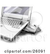 Clipart Illustration Of Little Microchip Bug Viruses Crawling Out Of An Open Disc Drive On A Laptop Computer by KJ Pargeter