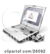 Clipart Illustration Of A Warning Notice On A Laptop Screen With Bug Like Microchips Crawling Out Of The Disc Drive Onto The Keyboard