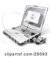 Virus Notice On A Laptop Screen With Bug Like Microchips Crawling Out Of The Disc Drive Onto The Keyboard