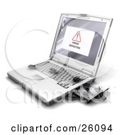 Virus Detected Notice On A Laptop Screen With Bug Like Microchips Crawling Out Of The Disc Drive Onto The Keyboard
