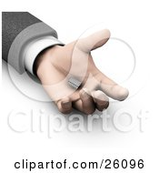 Clipart Illustration Of A Mans Hand Holding A Small Computer Chip
