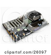 Clipart Illustration Of A Computer Circuit Motherboard With Chips Over White