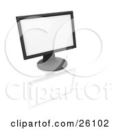 Clipart Illustration Of A Flat Panel Computer Screen On A Reflective White Surface by KJ Pargeter